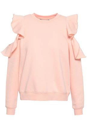 REBECCA MINKOFF Keepsake ruffle-trimmed cold-shoulder fleece sweatshirt
