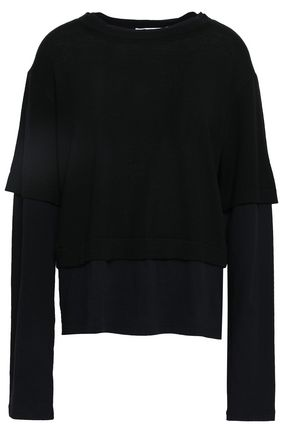 T by ALEXANDER WANG Paneled cotton-jersey and merino wool top