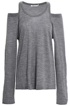 ALEXANDERWANG.T Cold-shoulder mélange merino wool top