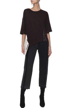 IRO Kalente asymmetric lace-up slub linen-jersey T-shirt