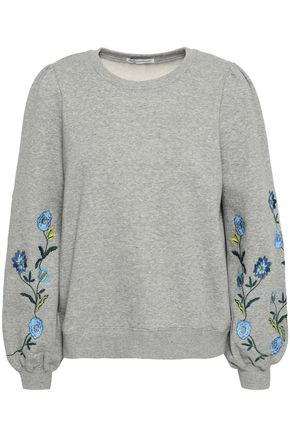 REBECCA MINKOFF Embroidered cotton-blend fleece sweatshirt