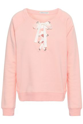REBECCA MINKOFF Lace-up fleece sweatshirt