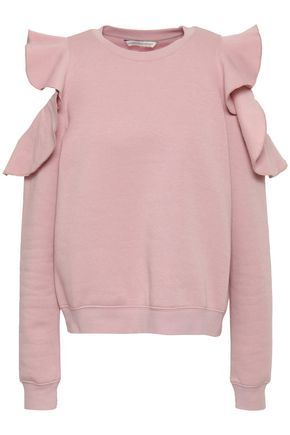 REBECCA MINKOFF Keepsake cold-shoulder ruffled cotton-blend fleece sweatshirt