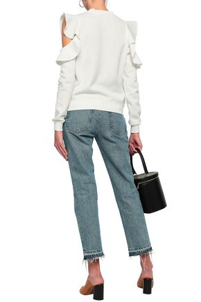 REBECCA MINKOFF Keepsake ruffle-trimmed cold-shoulder fleece sweatshirt