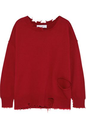IRO Nosasa distressed cotton and cashmere-blend sweater