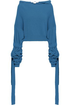 STELLA McCARTNEY Gathered ribbed cashmere and wool-blend hooded sweater