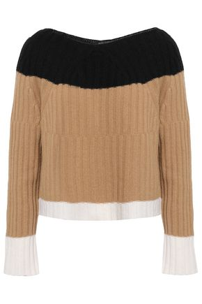 PIAZZA SEMPIONE Color-block ribbed wool and cashmere-blend sweater