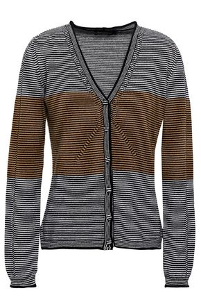 PIAZZA SEMPIONE Two-tone striped wool and cashmere-blend cardigan