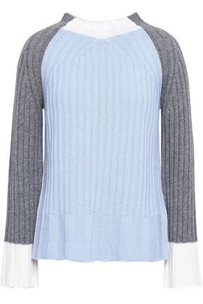 PIAZZA SEMPIONE Ribbed color-block wool and cashmere-blend sweater