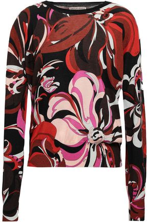 EMILIO PUCCI Printed silk and cashmere-blend sweater