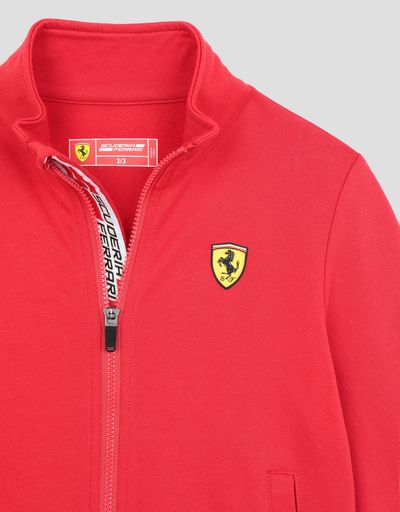 Scuderia Ferrari Online Store - Kids Scuderia Ferrari sweatshirt with Shield Icon Tape - Zip Sweaters