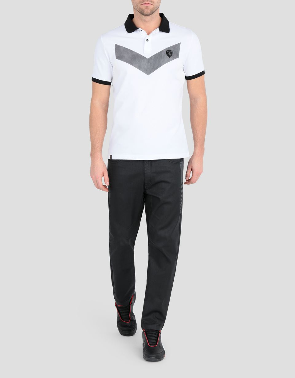 Scuderia Ferrari Online Store - Men's polo shirt in cotton piqué - Short Sleeve Polos