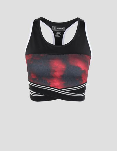 Scuderia Ferrari Online Store - Scuderia Ferrari sports bra with Red Clouds print -