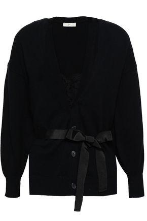JOIE Ferlinka lace-paneled cotton and cashmere-blend cardigan