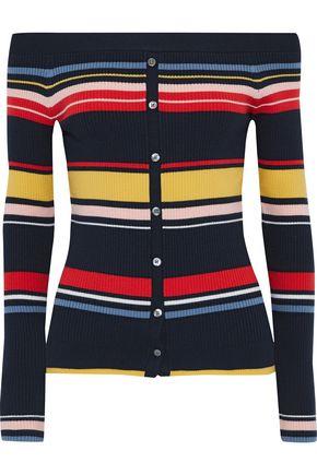 FRAME Off-the-shoulder striped ribbed-knit top