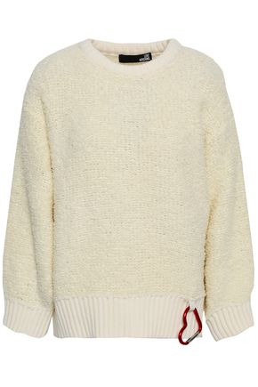 LOVE MOSCHINO Embellished bouclé wool-blend sweater