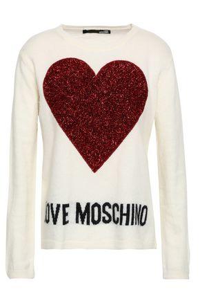 LOVE MOSCHINO Tinsel-paneled appliquéd intarsia-knit sweater