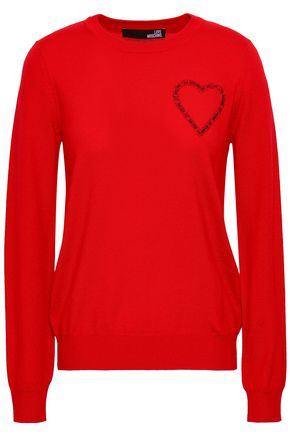 LOVE MOSCHINO Appliquéd wool sweater