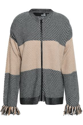 LOVE MOSCHINO Fringe-trimmed intarsia-knit cardigan