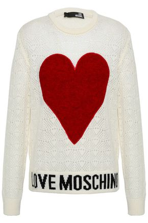 LOVE MOSCHINO Felt-appliquéd pointelle-knit sweater