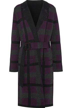 AKRIS Belted checked cashmere cardigan