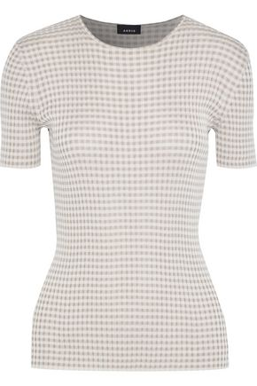 AKRIS Gingham ribbed silk top