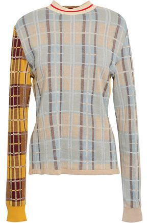 MARNI Paneled checked cotton-blend sweater