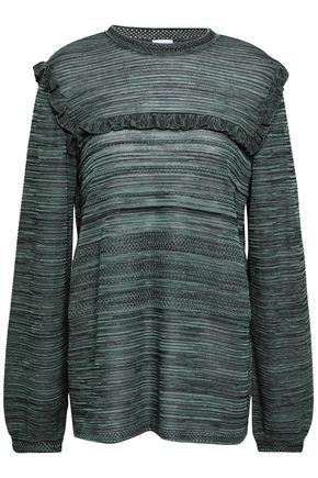M MISSONI Ruffle-trimmed cotton-blend sweater