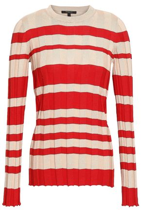 DEREK LAM Ribbed striped silk and cotton-blend top