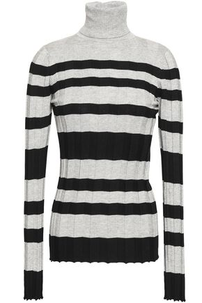 DEREK LAM Ribbed striped silk and cotton-blend turtleneck top