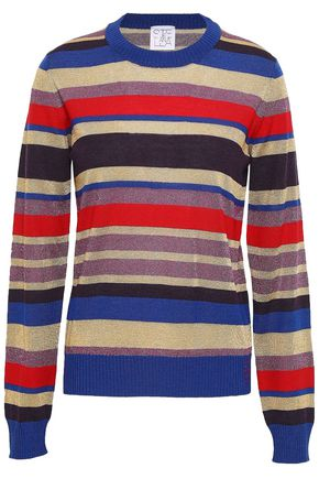 STELLA JEAN Metallic striped wool-blend top