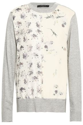 DEREK LAM Floral-print crepe-paneled silk and cotton-blend sweater