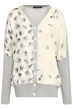 DEREK LAM Floral-print crepe-paneled silk and cotton-blend cardigan