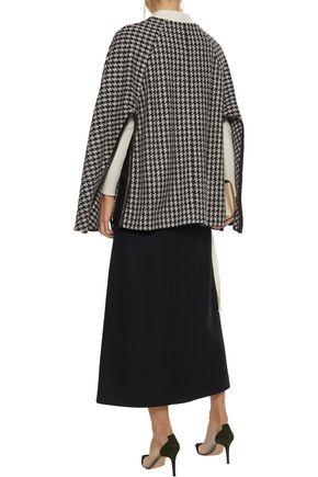 DEREK LAM Leather-trimmed checked wool-blend tweed cape
