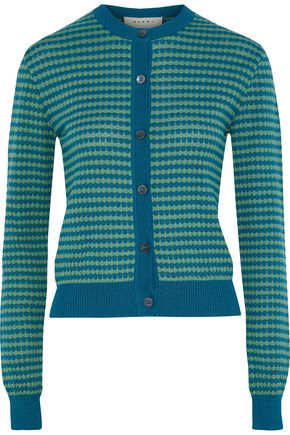 MARNI Striped crochet-knit cotton cardigan