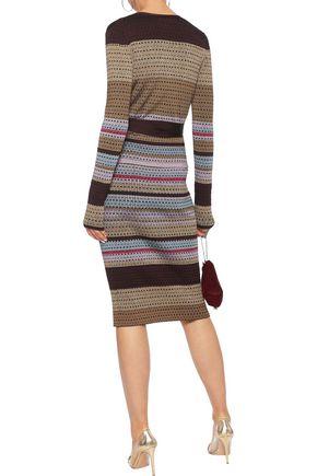 DIANE VON FURSTENBERG Metallic striped crochet-knit pencil skirt