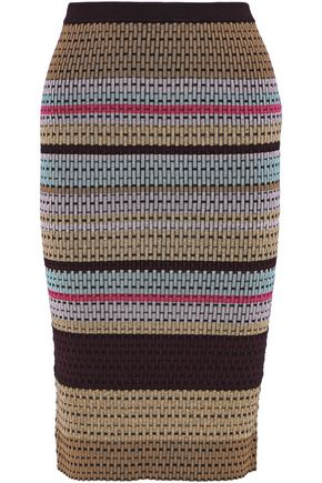 DIANE VON FURSTENBERG Metallic striped crochet-knit pencil skirt