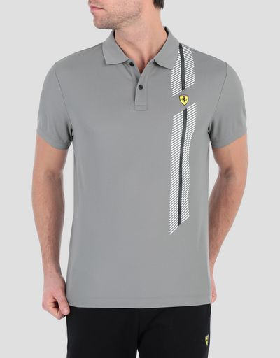 Men's polo shirt in technical piqué with print