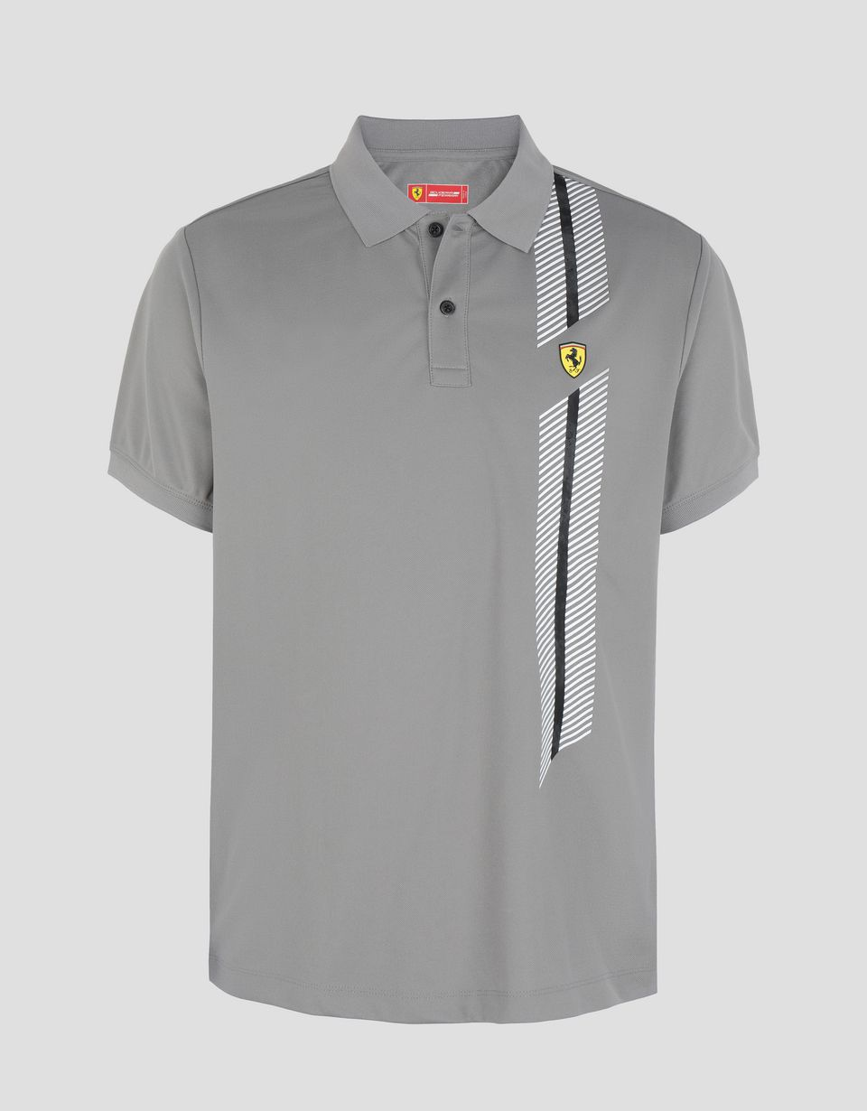 Scuderia Ferrari Online Store - Men's polo shirt in technical piqué with print -