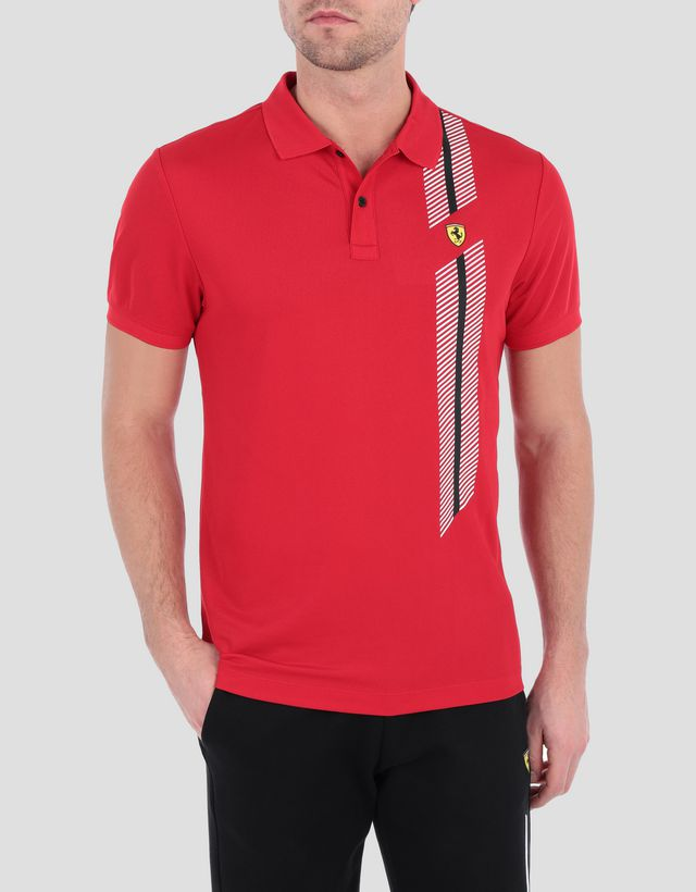 6a016f9685 Scuderia Ferrari Online Store - Men s polo shirt in technical piqué with  print - Short Sleeve ...