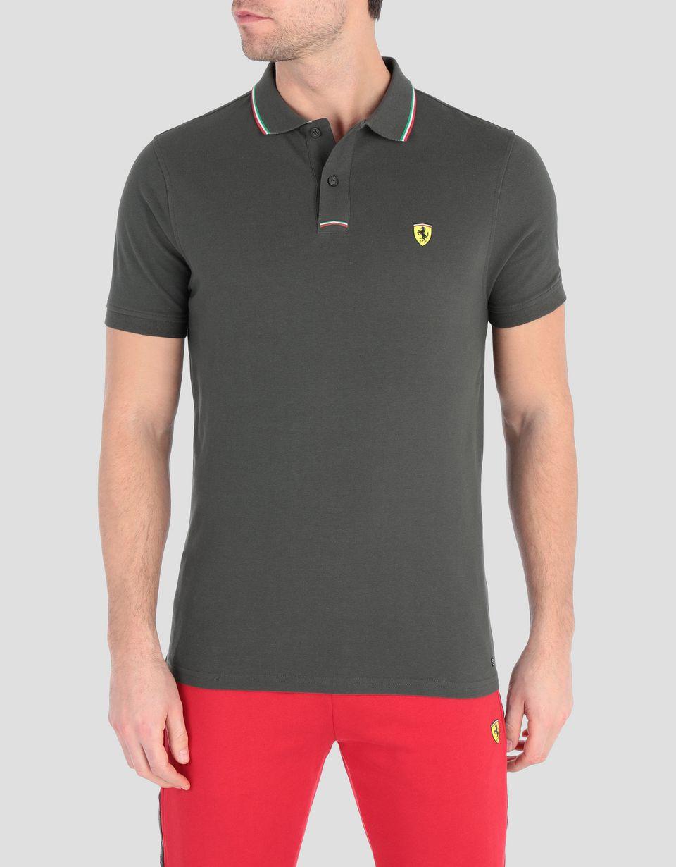 Scuderia Ferrari Online Store - Мужская поло из хлопкового пике - Поло с короткими рукавами