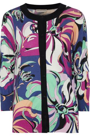 EMILIO PUCCI Printed silk and cashmere-blend cardigan