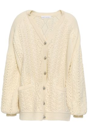 ROBERT RODRIGUEZ Cable-knit cable-knit wool and cashmere-blend cardigan