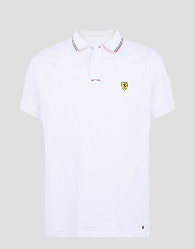 Scuderia Ferrari Online Store - Herren-Poloshirt aus Baumwollpikee - Kurzärmelige Poloshirts