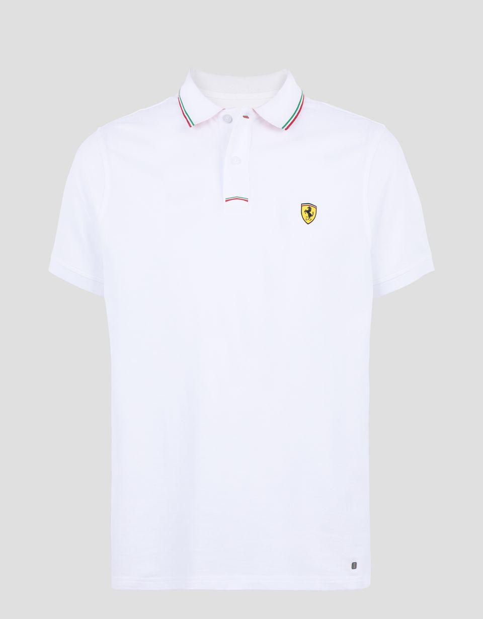 Scuderia Ferrari Online Store - Men's piqué cotton polo shirt -