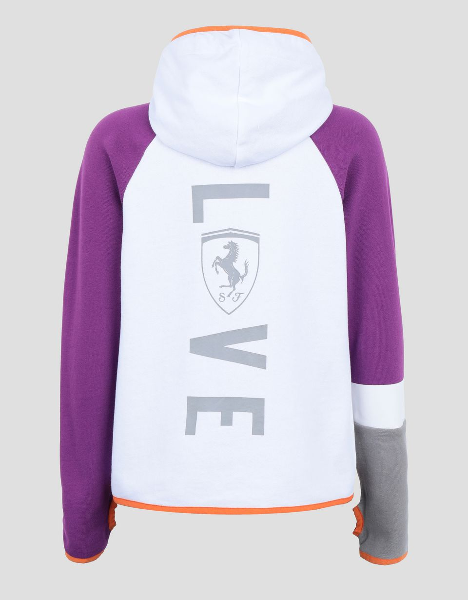 Scuderia Ferrari Online Store - Girl's sweatshirt in French Terry with LOVE print - Zip Hood Sweaters
