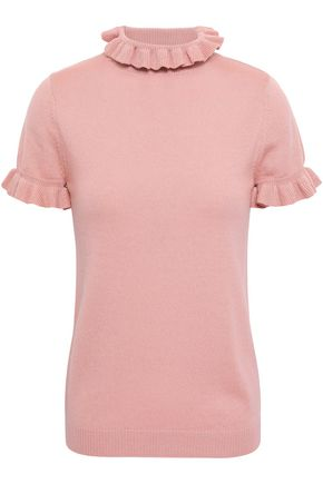 SHRIMPS Mary ruffle-trimmed metallic wool-blend sweater