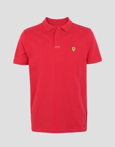 Scuderia Ferrari Online Store - Polo in cotone piquet con Scudetto sul cuore -