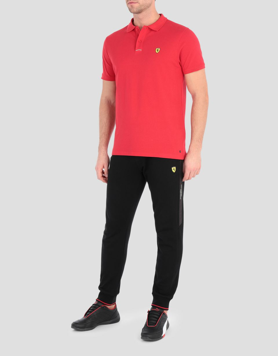 Scuderia Ferrari Online Store - Поло из хлопкового пике с логотипом Scudetto Ferrari на груди слева - Поло с короткими рукавами