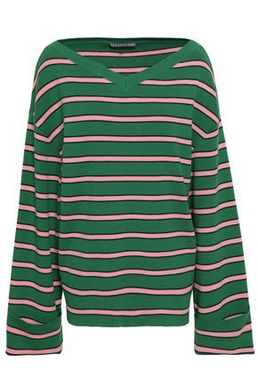 ALEXACHUNG Striped wool and cotton-blend sweater